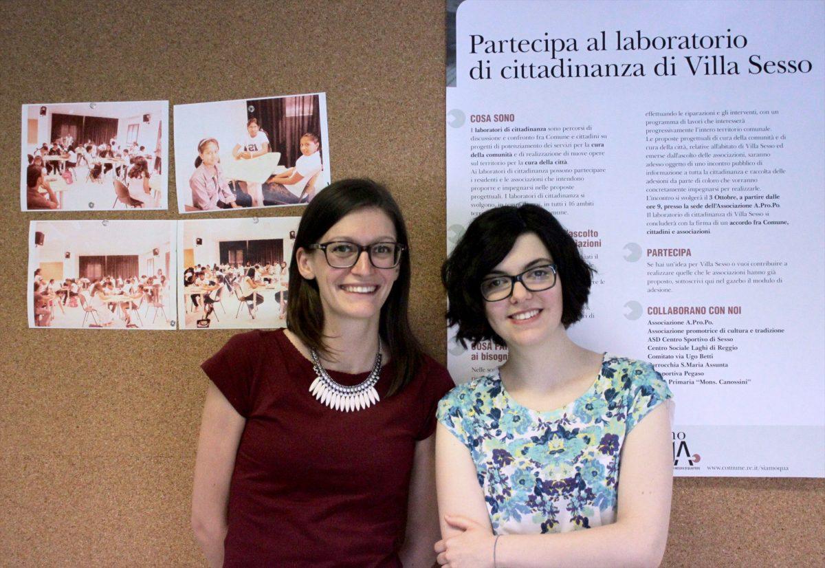 Aurora ed Elena - insegnanti del corso di italiano per stranieri a Villa Sesso